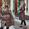 Зимнее женское пальто с поясом в цвете мокко ДВ/-21289