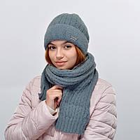 Комплект Nord 5554 шапка+шарф (альпака) темный серый