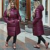 Зимнее женское пальто с поясом в цвете марсала ДВ/-21289