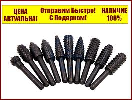 """Набор шарошек фрез по дереву 10 штук """"Практика""""  648-434"""
