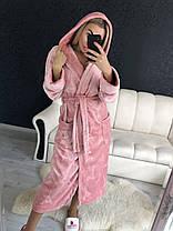 Женский теплый короткий халат цвета пудра с капюшоном, фото 3