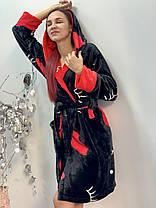 Женский плюшевый домашний халат черного цвета, фото 2