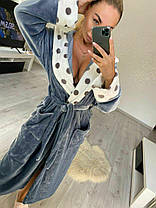 Женский короткий махровый халат серого цвета с капюшоном хит продаж 2021, фото 2