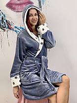 Женский короткий махровый халат серого цвета с капюшоном хит продаж 2021, фото 3