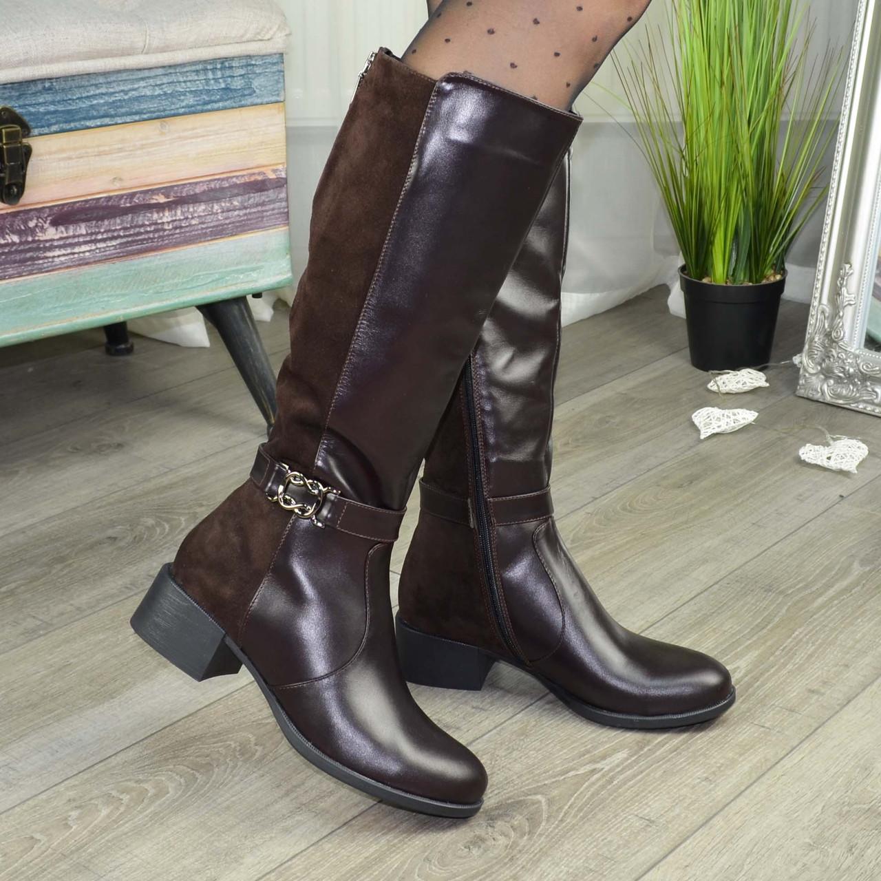 Женские коричневые сапоги на невысоком каблуке, из натуральной кожи и замши