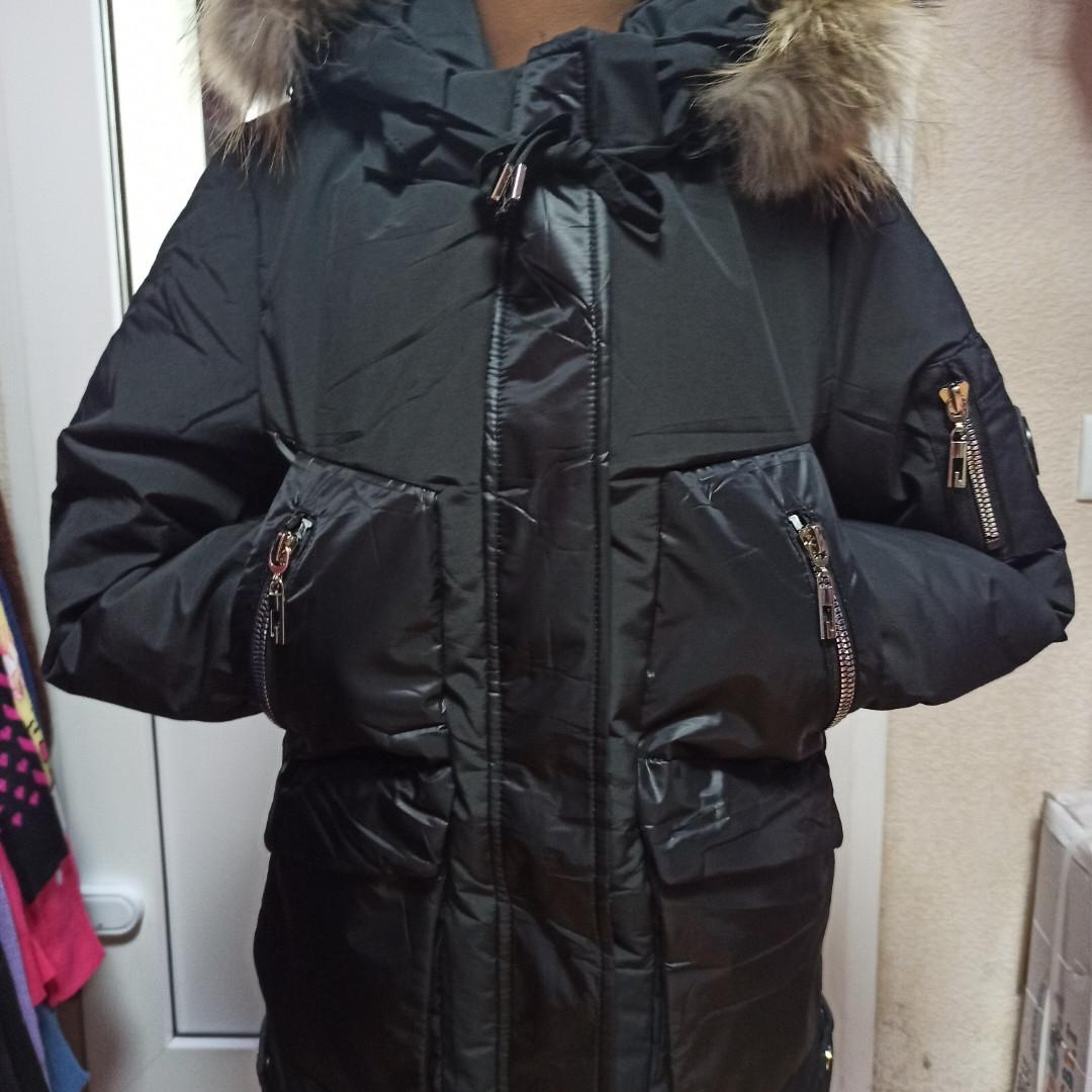 Зимнее красивое модное теплое пальто для девочки. Подкладка-  флис. Цвет- черный.