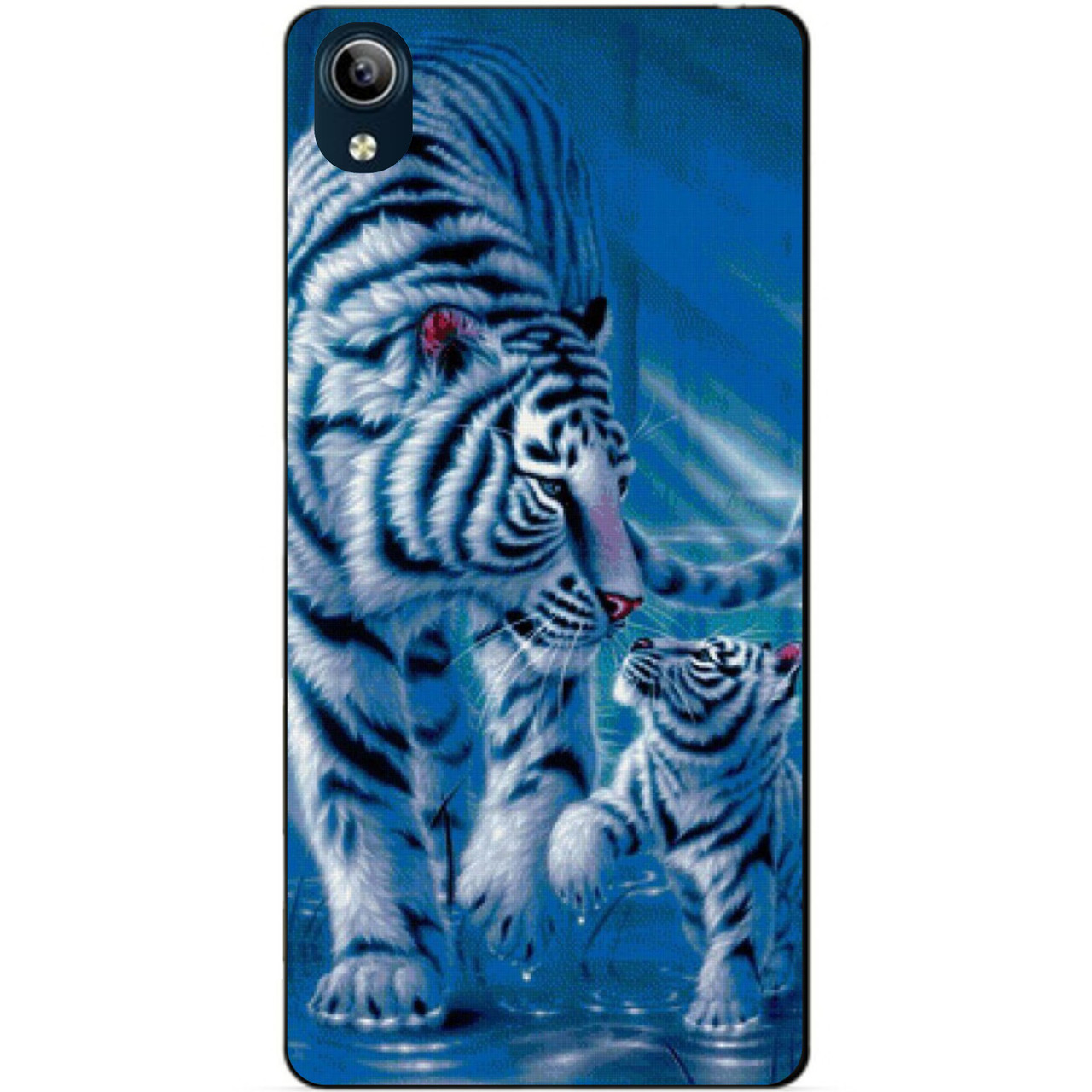 Силиконовый бампер чехол для Vivo Y1s с рисунком Тигры