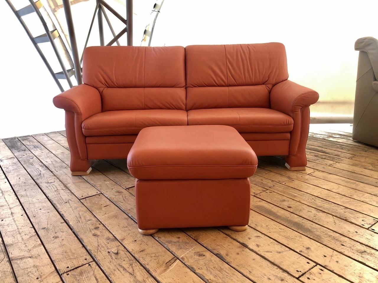 Червоний шкіряний диван із пуфом «Шик»