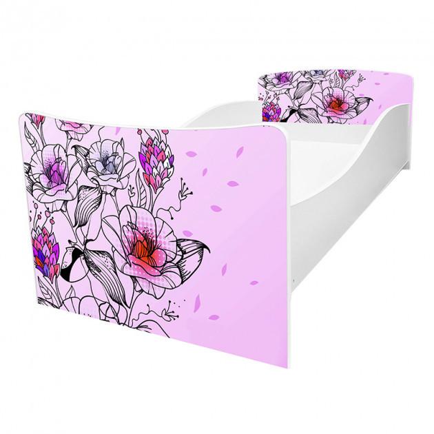 Кровать детская Kinder / Киндер 62 цветы с защитным бортиком ТМ Viorina-Deko