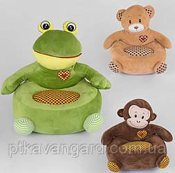 Кресло детское мягкое игрушка 3 вида, Медведь, Лягушка, Обезьяна 58х43х49 см C 44355