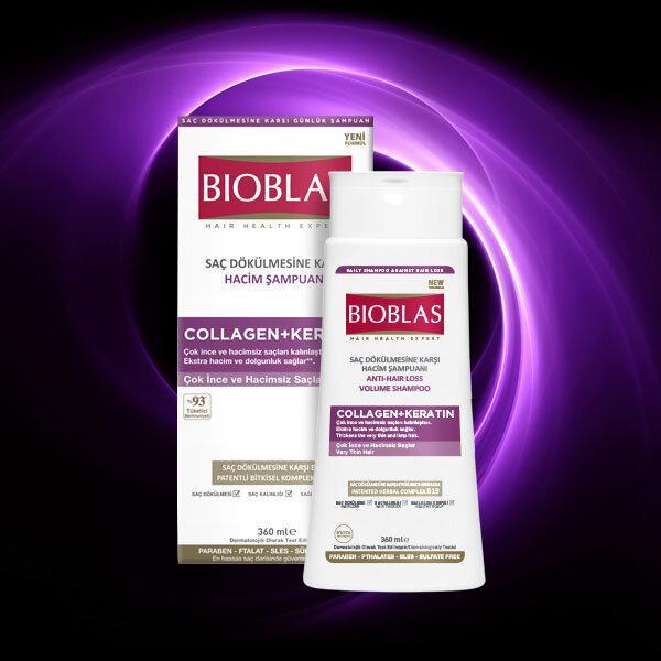 Шампунь для об'єму волосся Unice Bioblas з колагеном і кератином, Набір 360+150 мл