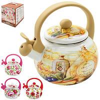 Чайник со свестком Ikebana разные цвета, с принтом, 2,2л, эмалированный Металлл, чайник кухонный, чайник