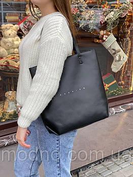 Жіноча шкіряна сумка шоппер на блискавці на плече Polina & Fashion Eiterou