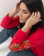 """Женский свитшот с вышивкой """"Цветы"""", фото 3"""