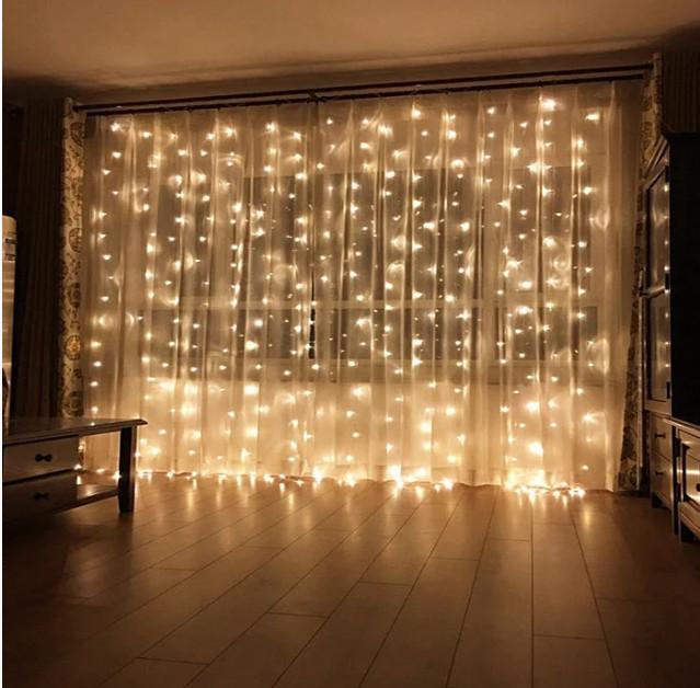 Электрическая гирлянда Штора 200 LED 5 м х 0,6 м, теплый белый