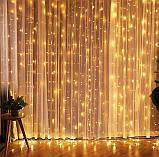 Электрическая гирлянда Штора 200 LED 5 м х 0,6 м, теплый белый, фото 5