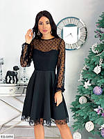 Платье черное с костюмки с сеткой, фото 1