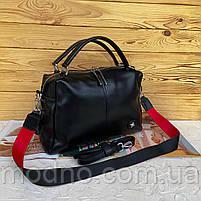 Жіноча шкіряна містка сумка середнього розміру на і через плече, фото 6