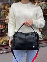 Жіноча шкіряна містка сумка середнього розміру на і через плече, фото 2
