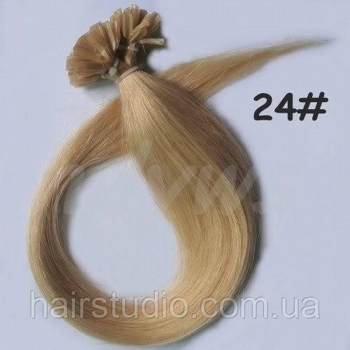 Волосы натуральные на кератиновых капсулах, оттенок №24. 50 см 100 капсул 50 грамм