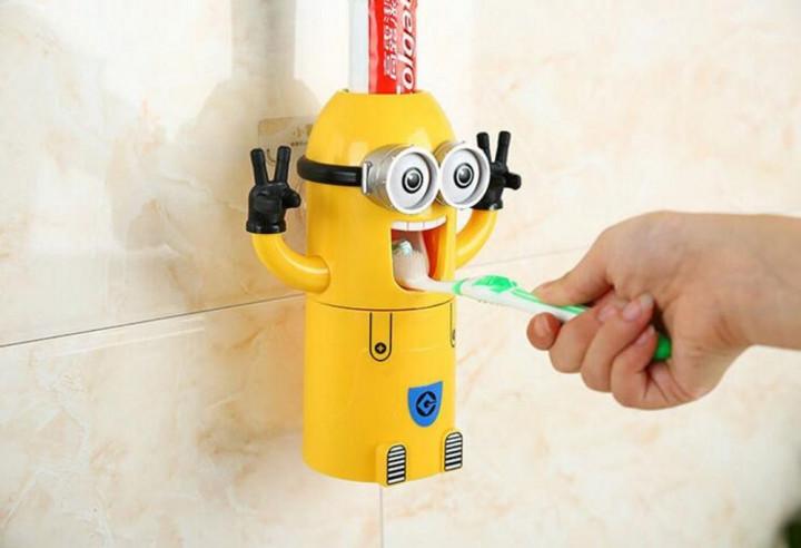 Диспенсер для зубной пасты Миньон и держатель зубных щеток дозатор Желтый