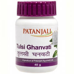 Тулси Гханвати/Tulsi Ghanvati, Patanjali,иммуномодулирующее, противокашлевое и отхаркивающее , 40г (60таб)