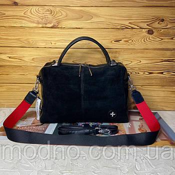Женская замшевая сумка на и через плечо с двумя ремешками чёрная