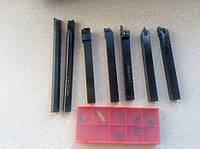 Резец. Набор токарных резцов 10*10мм 7шт+пачка пластин,ТВ16, різці