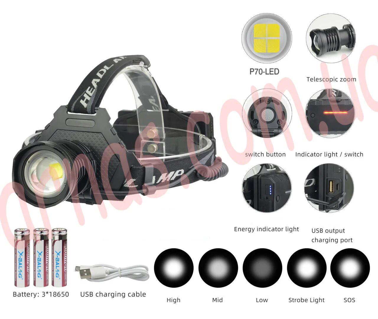 Аккумуляторный налобный фонарь BL-T70-P70