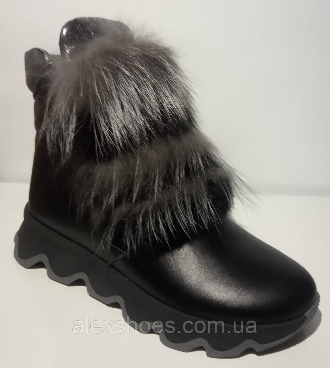 Ботинки женские зимние кожаные с натуральным мехом от производителя модель ЛУ433-3