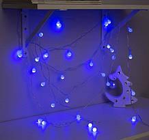 Электрическая гирлянда Шарики 10 мм 100 LED белый провод 6 м, синий