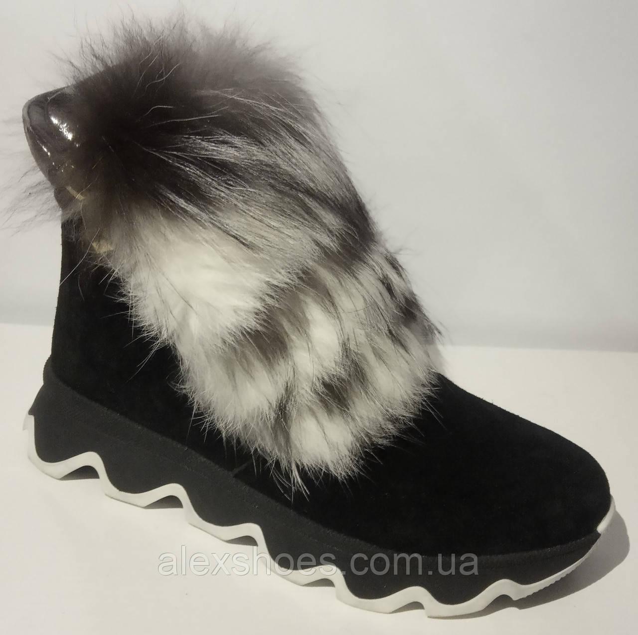 Ботинки женские зимние замшевые с натуральным мехом от производителя модель ЛУ433-4