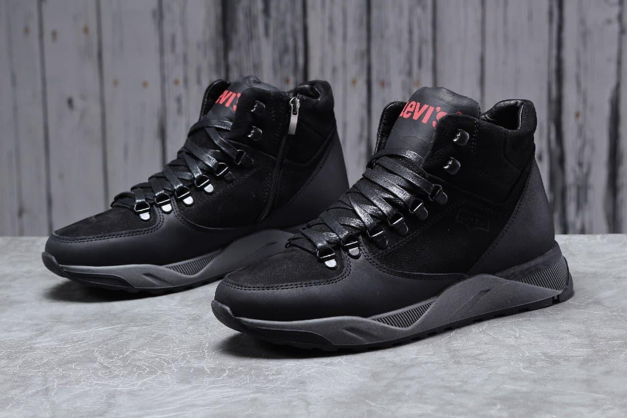 Levi's мужские зимние черные ботинки на шнурках