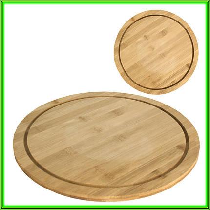 Доска для пиццы D 36 см бамбуковая толщина 1,1 см, фото 2