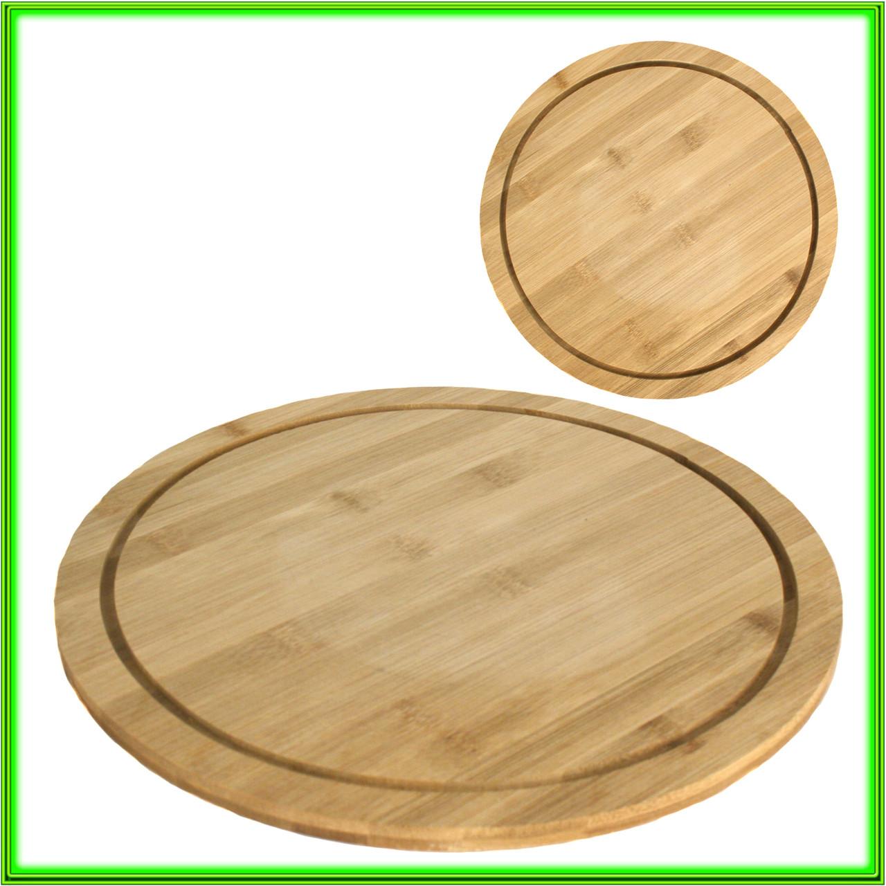 Доска для пиццы D 34 см бамбуковая толщина 1,1 см