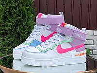 Nike Air женские зимние белые с фиолетовым/розовые кроссовки на шнурках 38