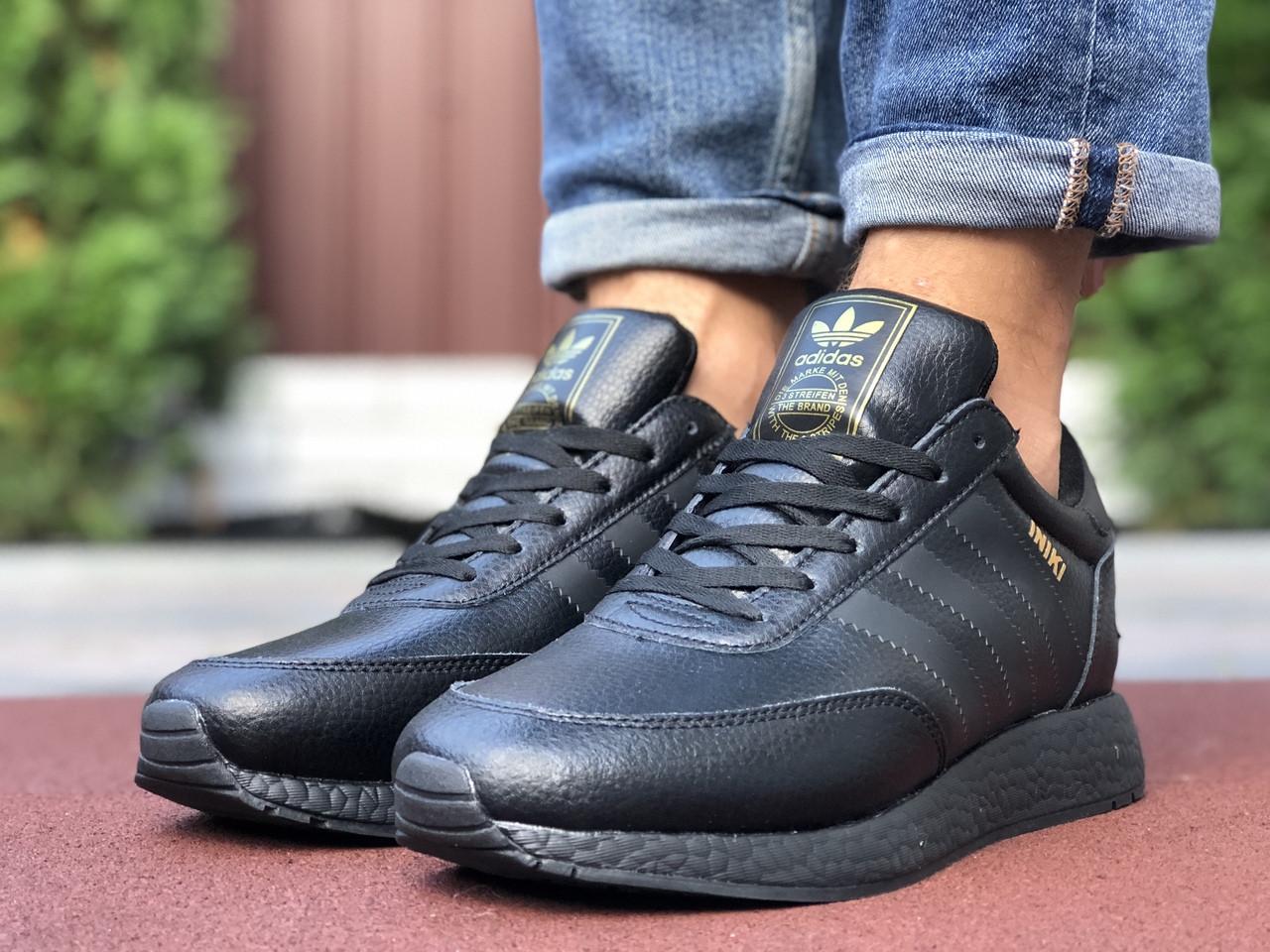 Adidas Iniki мужские зимние  черные кроссовки на шнурках 42
