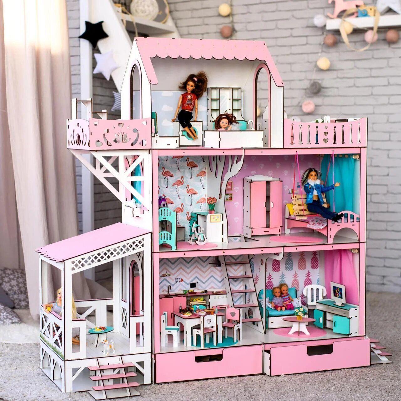 Кукольный домик Вилла Симфония для Барби розовый + мебель в Подарок!!!