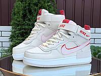 Nike Air женские зимние белые с красным/розовые кроссовки на шнурках 38