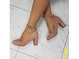 Туфли пудра замшевые с ремешком застежкой на низком каблуке К2359, фото 2