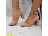 Туфли пудра замшевые с ремешком застежкой на низком каблуке К2359, фото 3