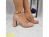Туфли пудра замшевые с ремешком застежкой на низком каблуке К2359, фото 8