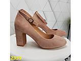 Туфли пудра замшевые с ремешком застежкой на низком каблуке К2359, фото 5