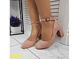 Туфли пудра замшевые с ремешком застежкой на низком каблуке К2359, фото 7