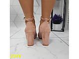 Туфли пудра замшевые с ремешком застежкой на низком каблуке К2359, фото 9