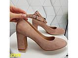 Туфли пудра замшевые с ремешком застежкой на низком каблуке К2359, фото 6