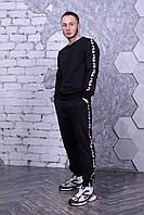 Fila (фила) Мужской черный спортивный костюм с брендовым лампасом зима. Свитшот черный, штаны черные 50