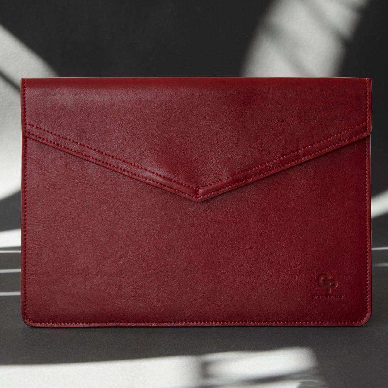 Шкіряний чохол для MacBook 12', червоний
