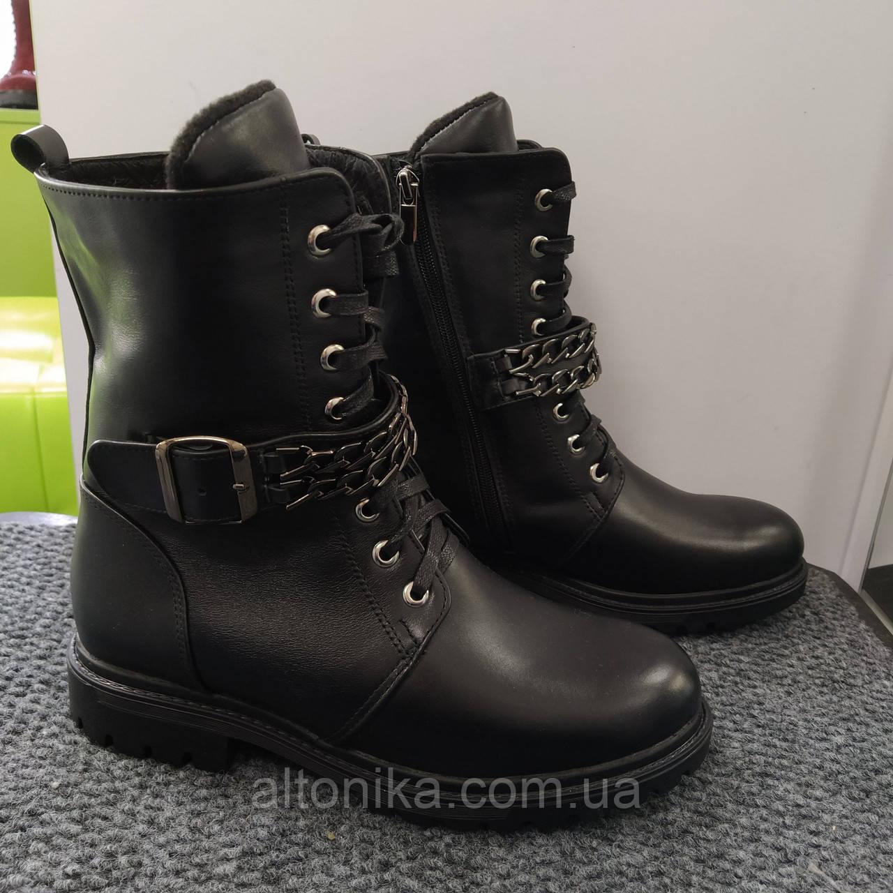 STTOPA деми зима. Размеры 36-41. Ботинки кожаные больших размеров! С9-28-3641-4-3344 Черные