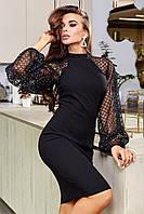 ✔️ Красивое платье с пышными рукавами из сетки с люрексом 42-48 размеры разные расцветки